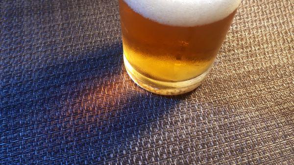 サッポロ「サクラビール」を飲むところ(オリジナル写真)
